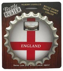 ENGLAND FLAG - Bottle Buster 3-1 Opener Coaster Magnet Beer Football Rugby Pub