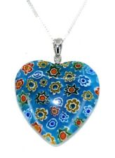 Necklace on Silver Plated Chain (40mm Pretty Blue and Flower Heart Shape Pendant