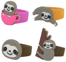 4 x CUTE SLOTH RINGS SOFT SILICON GIRLS TOYS PARTY BAG CHRISTMAS STOCKING FILLER