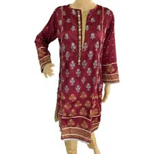 Women Indian Dress Kurti Pakistani Kurta Silk Embroidered Lace Long Tunic Top
