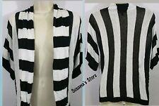 BEBE Black and White Short Sleeve Cardigan SIZE P/S Gorgeous!