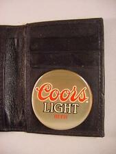 COORS LIGHT BEER BLACK LEATHER BIFOLD CREDIT CARD WALLET ID NEW