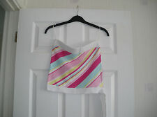 TOP LADIES WHITE PINK YELLOW BLUE SRAPLESS SIZE 10 =