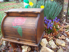 Bread Box Wood Kitchen Roll red Rose Flower signed 1981