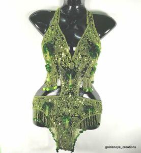 Bellydance Showgirl Leotard Swim Costume LightGreen Sequin Bead Black Net Fabric