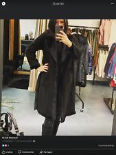 manteau noir facon daim et fausse fourrure TU avec ceinture fourrure NEUF