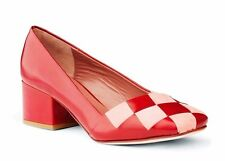 ACNE STUDIOS SHOES MOD PUMP RED PINK LEATHER $440 AERIN CHECKERED WOVEN HEELS 37