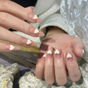 French Nude Sweet 3D Heart False Nails Long Ellipse Full Fake Press On Nails