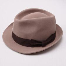 New KITON NAPOLI Camel Tan Felt Rabbit Fur Fedora 7 3/8 (59cm) L Hat Cap