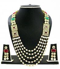 Indian Bollywood Wedding Ethnic Kundan Pearl CZ Bridal Long Necklace Set 5 Rows