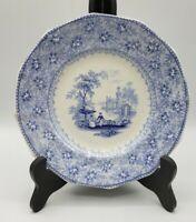 """Antique 7"""" Garden Scenery Blue Transferware Plate T J Mayer Longport c1840"""
