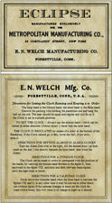 ANTIQUE CLOCK  E N  WELCH LABEL  ECLIPSE REGULATOR and Instructions