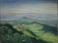 ::ÖLGEMÄLDE Burgruine Rechberg mit Blick auf den Hohenstaufen, Schwäbisch  S1R3