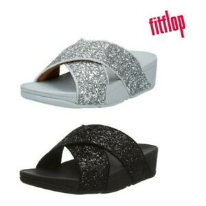 FitFlop Womens Lulu Comfortable Cushioned Glitter Wedge Sandals Slides Flip Flop