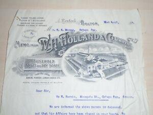 1913 W.H.Holland&Co. Soap Works Lostock Bolton Original Illustrated Top Billhead