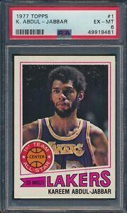 1977 Topps Basketball #1 Kareem Abdul-Jabbar Los Angeles Lakers HOF PSA 6 EX-MT