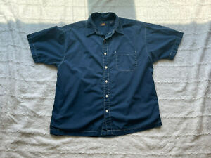 Route 66 Solid Blue Button Up Short Sleeve Shirt Large With Front Pocket