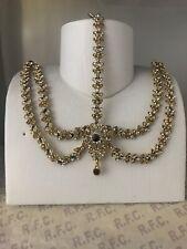 Gold maroon headpiece matha patti tika hijab boho bridal  hair chain prom party
