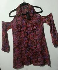 VON ZIPPER BARE SHOULDER SHIRT DRESS size 8 NWT PINK PURPLE FLORAL CHIFFON