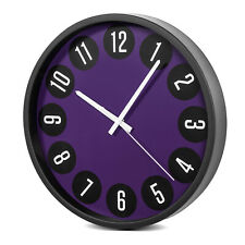 Reloj con Numeros Arabigos Pared Elegante Silencioso 14'' 34cm Negro con Morado