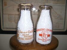 2 Nice Michigan Orange Pyro 1/2 Pint Milk Bottles Kalamazoo & Benton Harbor!