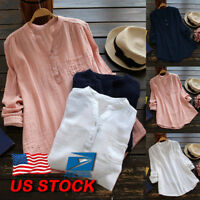 Women's Plus Size Long Sleeve OL Shirt Ladies Summer Casual Loose Tops Blouse US