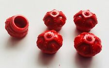 Red Crown PLASTIC Valve Stem Covers 5pc NEW FREE SHIPPING