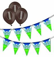 Bundle - Rugby - Pitch Bunting 15 flags & 5 Brown Rugby latex balloons