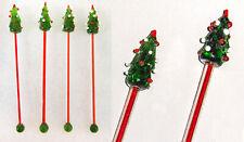 4 pcs Christmas tree lead crystal cocktail stirrers stix swizzle sticks handmade
