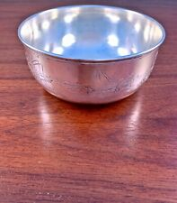 GORHAM CO. ACID ETCHED STERLING SILVER CHILD'S BOWL: FISHING SCENE, NO MONOGRAM