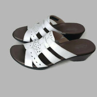 Clarks Bendables Womens Size 7.5 M Sandals Ella Joe White Leather Uppers