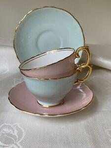 Lovely Set Vintage STAFFORDSHIRE  English Bone China TeaCups & Saucers Pink Aqua