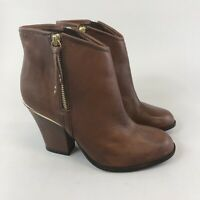 River Island Size 38 US7 UK5 Brown Leather Ankle Zip Up Heeled Booties Boots New