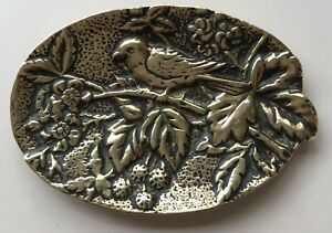 Vintage brass dish cast in relief with Bird With Leaves And Flowers. (Y884)