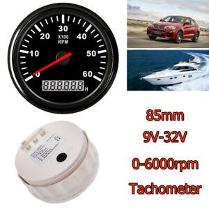 0-6000 RPM 85mm Car Marine Tachometer Boat Gauge Digital Hourmeter Waterproof