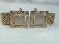 VINTAGE HICKOK MENS GOLD TONE SQUARE & MESH CUFF LINKS