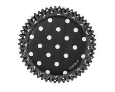 PAPER Cupcake LINERS ~ BLACK WITH WHITE POLKA DOTS ~ Made In USA ~ Wilton