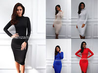 Glamzam New Womens Ladies Polo Turtle Neck Party Long Sleeve Midi Bodycon Dress