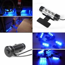 4pcs 3 LED Blue Car Interior Atmosphere Light Charge Floor  Lamp Universal Decor
