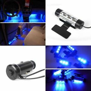 4pcs 3 LED Blue Car Interior Atmosphere Light Charge Floor  Lamp Universal Decor