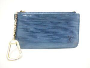 Auth LOUIS VUITTON Pochette Cles Epi Key Case Coin Purse M63805 Blue Vintage