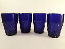 """4 Boyd Glass Inverted Strawberry Pattern in Cobalt Blue 3.5"""" Tumbler"""