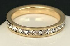 DESIGNER Gold Tone Ring Stackable Band Simulated Diamond Premier Quality Sz 6.5
