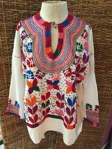 Beautiful Mexican  embroidery Blouse handmade