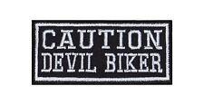 Caution Devil Biker Heavy Rocker Patch Aufnäher Kutte Bügelbild Stick Badge Stic