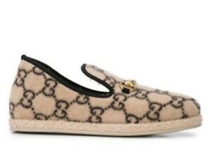 Gucci Fria Wool Monogram GG Logo Beige Loafer Slippers Slip-On Sz 9 US NEW $775