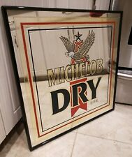 "Vintage Michelob Dry Mirror Beer Sign 1988  Anheuser Busch Framed 18"" x 18"""