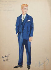 1959 Man costume design watercolor drawing signed