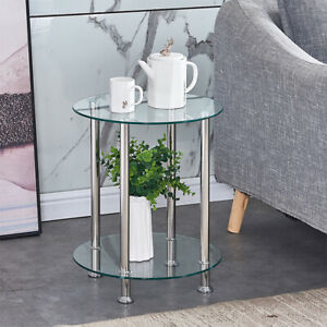 2 Tier Side Table End Table Corner Table Glass Top Chrome Legs Living Room Clear