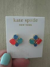 NWT Kate Spade Fabulous Cluster Stud Earrings- Turquoise, Blue,  Pink/ Coral